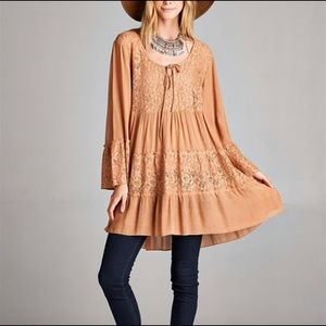 NWT Boutique Babydoll Lace Tunic